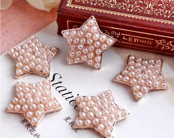 Pearl Star Flat Backs Set In Rose Gold Tone Metal Embellishments Wedding Button 23mm