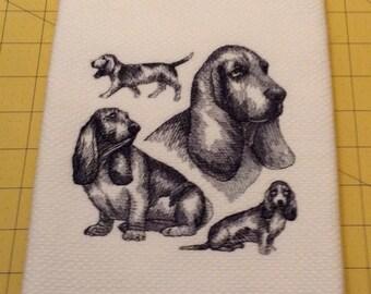 Bassett Hound Collage Sketch Embroidered Williams Sonoma All Purpose Kitchen Hand Towel, 100% cotton, XL