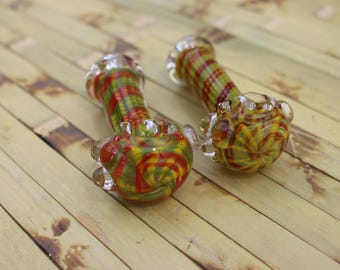 Hand blown hand made Wild Abstract  sunshine glass bubble burst spoon hand pipe