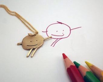 Immortalize your child's drawing in art jewelry - bronze pendant and chain in 14carats gold filled -