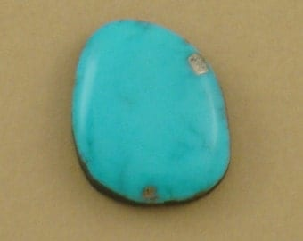 Unusual Large Turquoise Cabochon, Campitos stabilized turquoise, 26x21x6mm trapezoid, blue color, hand-cut turquoise cabochon