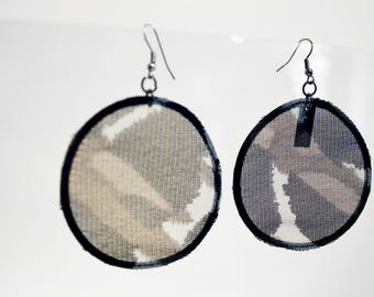 Safari Mesh Earhoops/ Earrings /handmade / Urban /adventure