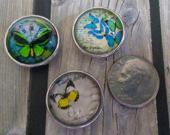 Interchangeable Snap Button Jewelry, Butterfly Set of 3, #e-143