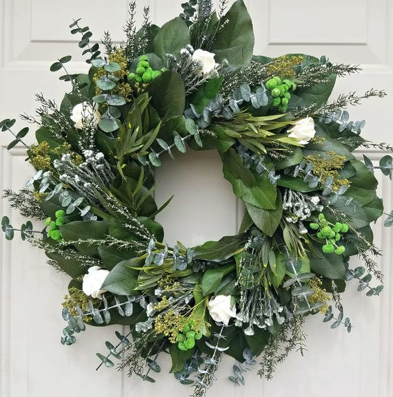Custom sizes, preserved lemon leaf wreath, leaf wreath, large wreath, cream roses wreath, natural wreath, decorative wreath