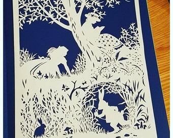 Down the rabbit hole Papercut Framed, Alice in Wonderland, fairytale, white rabbit, art, handcut, gift, present,