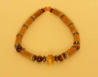 Bracelet wood Hazel and stones