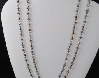 Copper Flash Crystal Chain Necklace