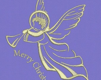Angel Merry Christmas Machine Embroidery Designs  2 Sizes  Instant Download
