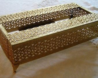 Gold Brass Filigree Tissue Box Holder Vanity Dresser Bathroom Adornment Rectangulat Kleenex Tissue Box