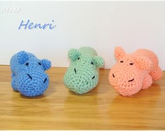 Customizable Crochet Hippo, Amigurumi Hippo, Stuffed Hippopotamus, Plush Hippo, Baby Toy, Hippo Stuffed Animal, Nursery Decor, Made to order