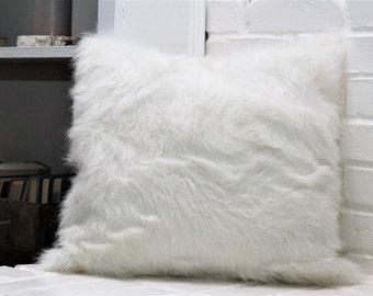 White Faux Fur Decorative Pillow