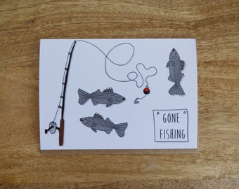 Card 'Gone Fishing' Father's Day, Dad, Birthday