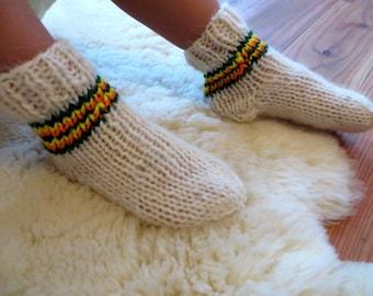 Kid's Wool Socks, Knit Socks, Kid's Wool Slippers, White Socks, Knitted Socks, Wool Socks Baby,  Socks for Kids, Warm Socks, Organic Socks