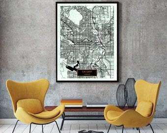 CALGARY Canada CANVAS Large Art City Map Calgary Canada Art Print poster map art jt Wall Art Home Decor JackTravelMap