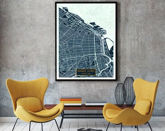 BUENOS AIRES Argentina CANVAS Large Art City Map Buenos Aires Argentina Art Print poster map art Modern wall art Large Map jt JackTravel