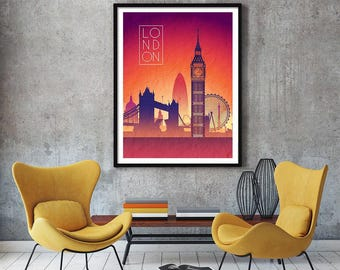LONDON Sunset Skyline Art London  Art London   Skyline London  map London  wall art London   map print