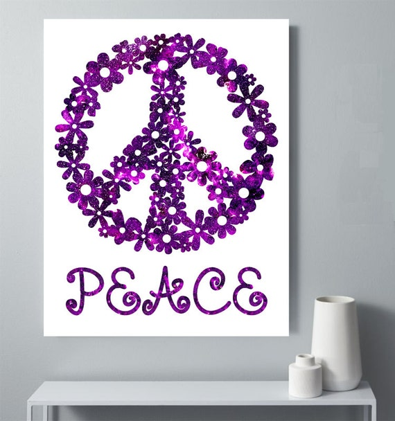 Peace Sign Printable Flowered Peace Sign Tween Room Decor