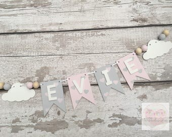 Personalised Name Wooden Bunting with clouds and beads