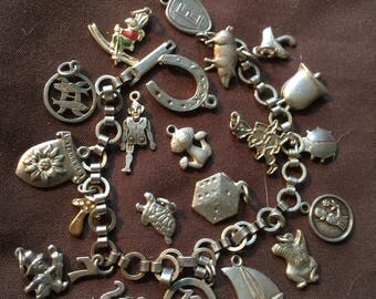 Vintage German Sterling or 800 Silver Charm Good Luck Bracelet