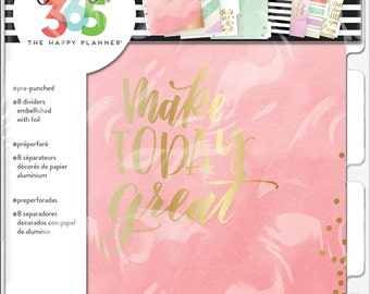 Sale! New Create 365 Happy Planner Dividers - Lovely Pastels - 8pc/pk - Use with Classic Happy Planner/Pink with Gold Foiled/Mint