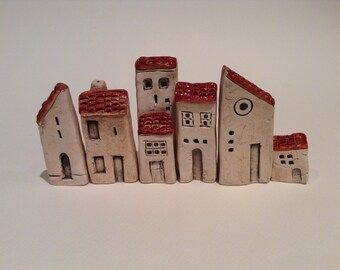 Set of 6 tiny ceramic buildings/town. Original and handmade pottery art.