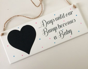Beautiful days until our bump becomes a baby/days until we are Grandparents again countdown keepsake plaque