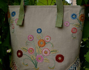 "Handbag ""Jungle"" Upcycling embroidery fabric cotton fringes"