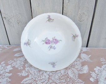 Pink & Lavender Rose Bowl, Gold Gilded Shabby Chic Pink Rose Bowls, Lavender Bohemian China Serving Bowl, Rose Lavender Salad Bowl