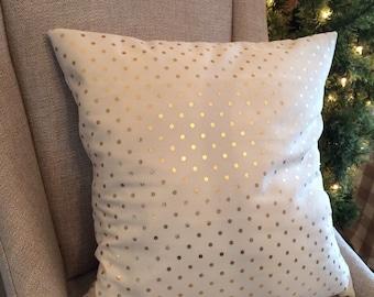 Gold dot pillow cover, metallic gold dot pillow cover