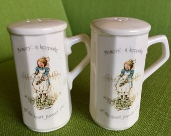Vintage 70s Holly Hobbie Salt and Pepper Shakers Memory a Keepsake of the Heart Forever