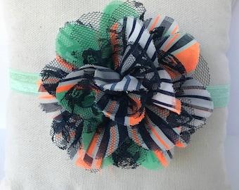 orange, green, white, navy shabby headband Halloween, Kids headband, Baby headband, Infant headband, and Toddler headband