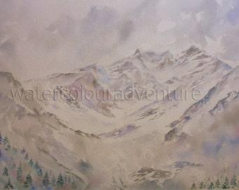 Aiguille du Midi, Mont Blanc, original watercolor, foggy mountain, watercolor landscape, watercolor mountain, chamonix, French Alps, snow