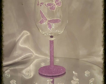 hand decorated glitter butterfly wine glass