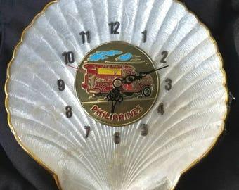 Vintage Philippines Souvenir Seashell Wall Clock, Gold Trim, Sealed, Works
