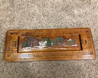 Custom Carved Cribbage Board!! Solid Oak - 2 Man Board...