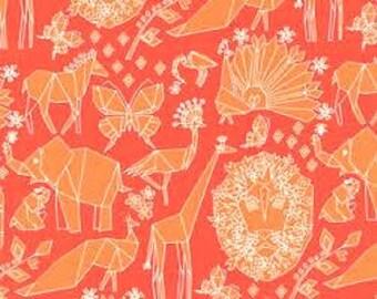 "Michael Miller Cotton Fabric ""Fold"" in  Clementine Orange"