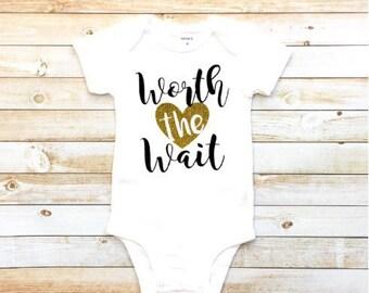 Worth the wait, new baby bodysuit, baby shower gift, baby girl, glitter heart, birth announcement, pregnancy announcement