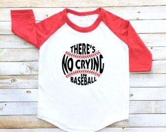There's no crying in baseball, baseball shirt, toddler baseball tee, baseball toddler raglan, boy, girl, funny shirt