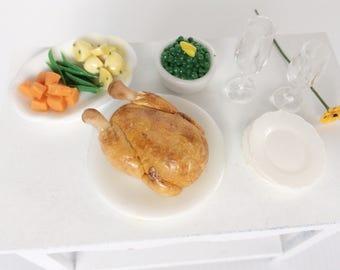 Miniature Roast Dinner - Miniature Roast Chicken - Miniature cooked vegetables - Dinner for Dollshouse - Dollshouse Food - 1:12 scale food