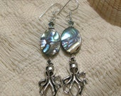 Currents of Friendship - earrings - octopus charms - abalone shell - Swarovski crystal