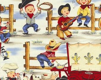 Michael Miller Lil' Cowpokes - vintage inspired childrens western cowboy chuck wagon rodeo Fabric - Denim - Per 1/2 metre - 100% Cotton