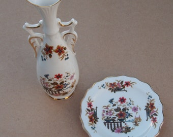 Royal Stafford Bone China Dish & Vase - Floral Design - Vintage Bone China