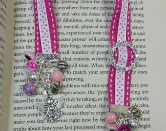 Pink and white ribbon bookmark with beads and angel charms