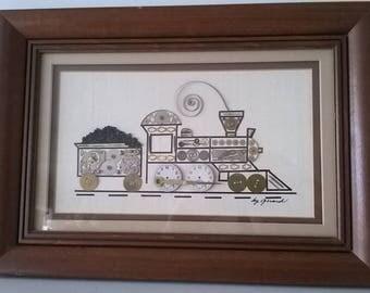 Original Steam Punk Art By GIRARD- Framed Watch Parts Train Clock - Signed by Girard