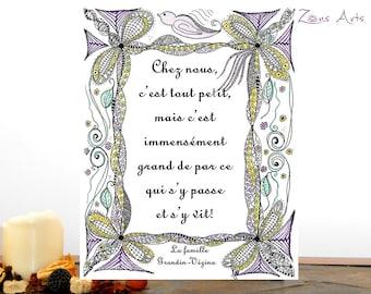 Text print zen, 8 x 10 ou 8-5 x 11 po, OISEAU SUR CADRE, English or French, Art bird print, Zen illustration with inspiring quote,