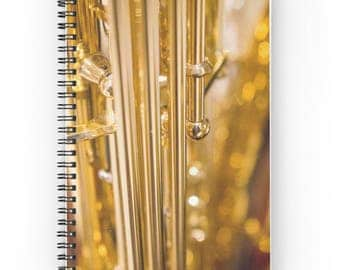Music Gift ~ Saxophone Notebook ~ Music Teacher Gift ~ Gold Spiral Notebook ~ Music Notepad ~ Journal for Musician ~ Saxophone Photo Diary