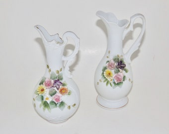 Lefton China hand painted white bud vase with handles,set of 2,vintage flower vase,gold trim vase,floral design vase,pair small vases