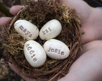 Nest with Hand stamped clay eggs