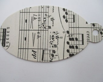 Vintage Music Tags Oval x 10 - Handmade from Authentic Sheet Music Paper