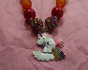 Unicorn and Rainbow Girls Chunky Bubblegum Necklace.  Pooping Rainbow Unicorn Gumball Necklace